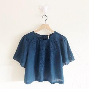 Free People Navy Lace SS Top